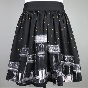 Book of Life Black White Gold Star Skirt Size S